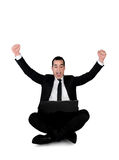Business man winner with laptop Royalty Free Stock Photos