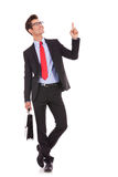 Business Man With Briefcase Pointing Up Royalty Free Stock Photo