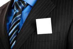 Business Man With Business Card In The Pocket Stock Image