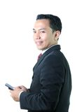 Business Man With Mobile Device Stock Photo