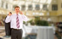 Business Man With Telephone Stock Photography