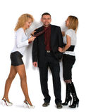 Business Man With Two Girls Royalty Free Stock Photo