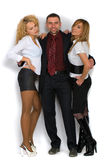 Business Man With Two Girls Stock Photography