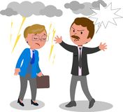 Business man and woman arguing vector. Two angry business man and woman arguing, vector illustration Stock Photo