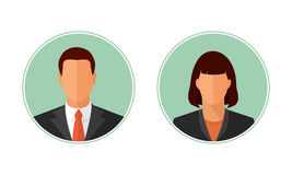 Business Man And Woman Avatars Vector Illustration. Business man and woman avatars, portraits. Flat style design vector circle illustration  on white. Male and Royalty Free Stock Photo