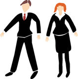 Business Man and Woman in black suits. A man with brown hair in a black suit and a woman with red hair in a black suit, designed in a sketch style Stock Photography