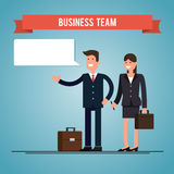 Business man and woman with briefcases. speak bubble. flat illustration Royalty Free Stock Photos