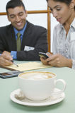 Business Man And Woman At Cafe Royalty Free Stock Photo