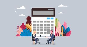 Business man and woman calculator working together interview sit at office desk , business people brainstorming concept vector illustration