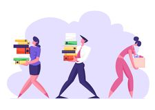 Business Man and Woman Carry Big Heap of Documents Files. Fired Sad Businesswoman with Box Leaving Office. Company Employees at Work, Busy Day, Disorganized vector illustration