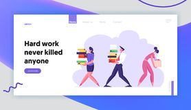 Business Man and Woman Carry Big Heap of Documents Files. Fired Sad Businesswoman with Box Leaving Office, Employees. At Work, Website Landing Page, Web Page vector illustration