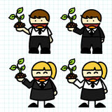 Business man and woman cartoon. Royalty Free Stock Photo