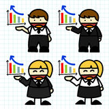 Business man and woman cartoon. Stock Photos