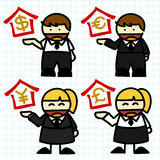 Business man and woman cartoon. Stock Photo