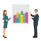 Business man and woman with chart Stock Image