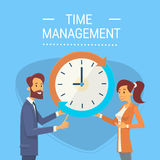 Business Man And Woman With Clock Time Management Concept Royalty Free Stock Photography