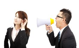 business man and woman Communications problems royalty free stock image