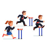 Business man and woman competing in a race. Business man and woman competing in a steeplechase race following the leader jumping over obstacle. Determined Royalty Free Stock Photo