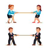 Business man and woman competition metaphor. Playing a tug of war pulling rope. Flat style vector illustration isolated on white background vector illustration