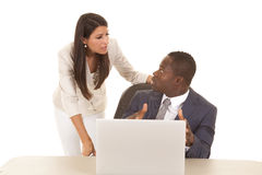 Business man and woman computer look at each other Stock Image