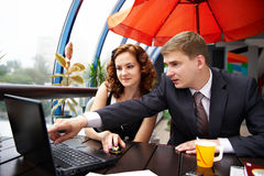 Business man and woman discussing on lunch Royalty Free Stock Photography