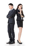Business man and woman feel confused and worried Stock Photo