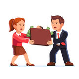Business man and woman fighting for dollar money Stock Photos