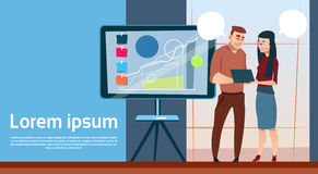 Business Man And Woman With Flip Chart Seminar Training Conference Brainstorming Presentation Financial Graph. Flat Vector Illustration Stock Images
