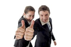 Business man and woman giving thumbs up white background Royalty Free Stock Photos