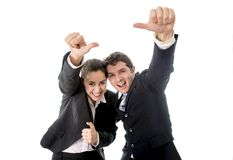 Business man and woman giving thumbs up white background Stock Photos