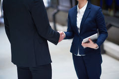 Business man and woman hand shake Royalty Free Stock Image