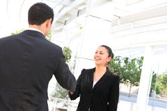 Business Man and Woman Handshake Royalty Free Stock Image