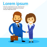 Business Man and Woman Handshake Contract. Communication, Businessman Businesswoman Hand Shake Flat Vector Illustration royalty free illustration