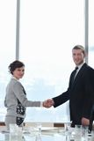 Business man and woman handshake on  meeting Stock Photos