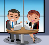 Business Man and Woman Having Meeting royalty free illustration