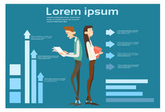Business Man And Woman Hold Paper Document Contract Financial Graph Arrow Up Background. Flat Vector Illustration Royalty Free Stock Images
