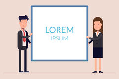 Business man and woman or managers stand near the presentation display. Demonstration at a meeting or seminar. Blank. Screen. Flat character isolated on stock illustration