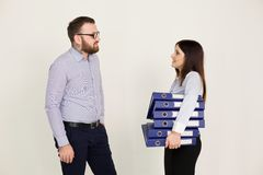 Business man and woman in the Office work partners Stock Image