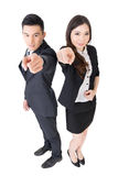 Business man and woman point at you Royalty Free Stock Photography