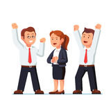 Business man and woman raising hands up over heads. Business man and woman executives celebrating success shouting and making winner, yes gestures raising hands Stock Photos
