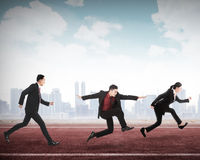 Business man and woman running for career. Business men and women running for career. Business career conceptual Stock Image