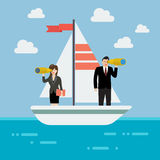 Business man and woman sailing and looking for future Royalty Free Stock Photography