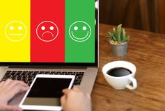 business man and woman select happy on satisfaction evaluation? Royalty Free Stock Images