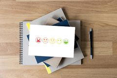 Business man and woman select happy on satisfaction evaluation?. And good mood smiley and evaluate Stock Photo
