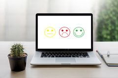 Business man and woman select happy on satisfaction evaluation? Royalty Free Stock Image