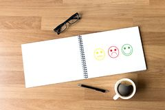Business man and woman select happy on satisfaction evaluation? Royalty Free Stock Photography