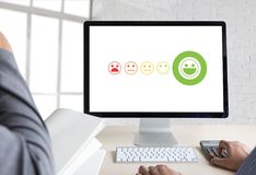 Business man and woman select happy on satisfaction evaluation? Royalty Free Stock Photos