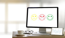 Business man and woman select happy on satisfaction evaluation? Royalty Free Stock Photo