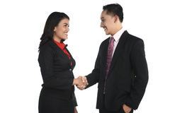 Business man and woman shake hand Royalty Free Stock Photography