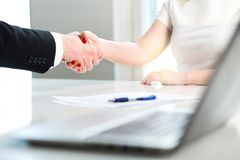 Business man and woman shaking hands. royalty free stock photo